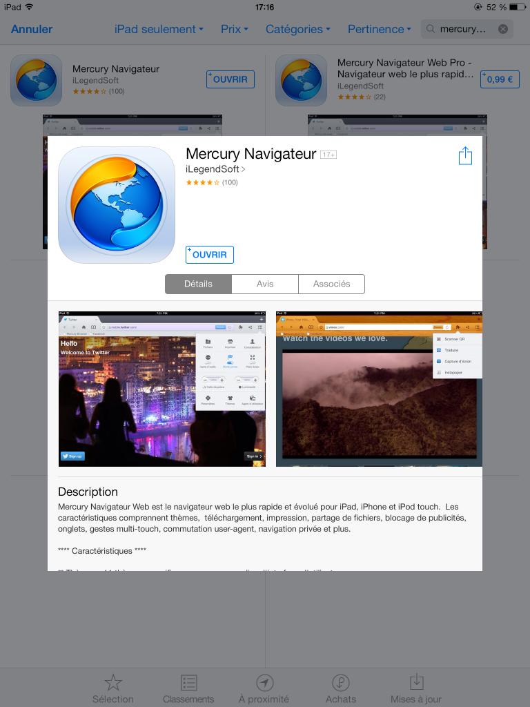 Mercury navigateur pour seo ipad iphone