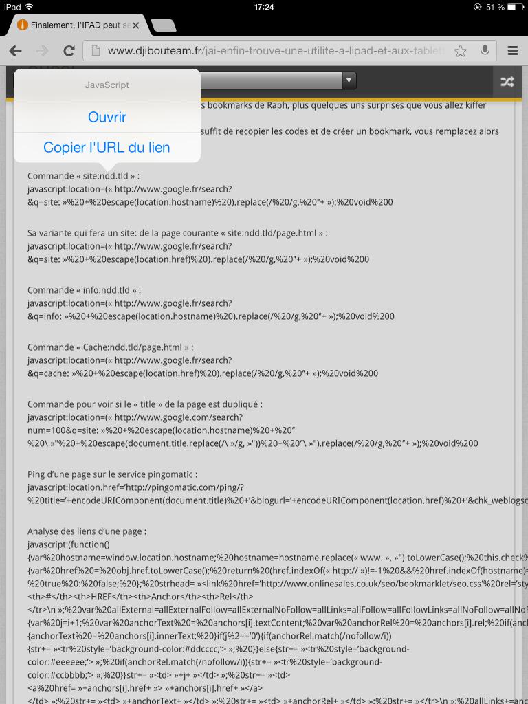 copier url javascript sous ipad