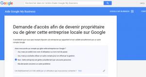 étape 3, choisir la raison pour réclamer un compte google my business
