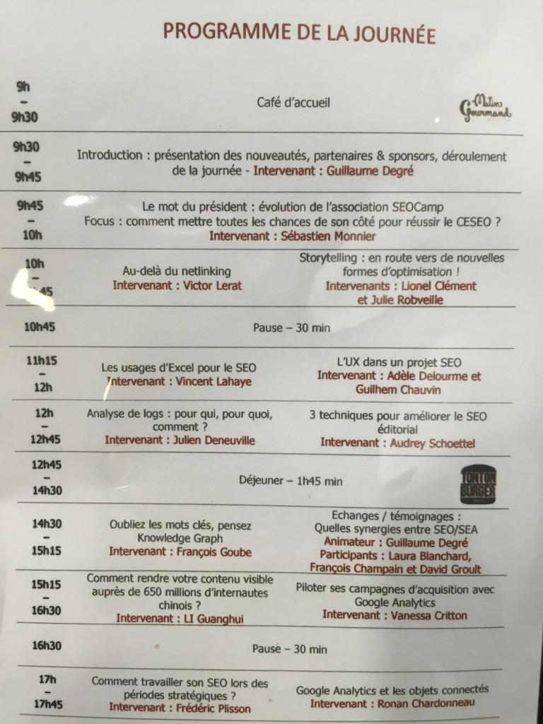 programme SEO camp nantes 2016